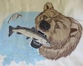 "Embroidered ""Bear & Salmon"" Hoodie Sweatshirt"