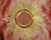 """BARANZELLI """"SUNFLOWER"""" Embroidered SILK Fabric 10 yards  Cinnabar Gold"""
