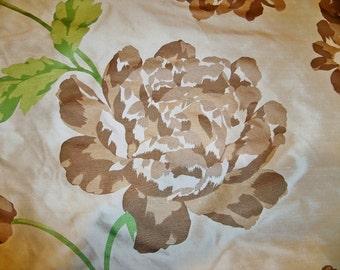 TAPESTRIA HYDRANGEA Blossoms Printed Silk Fabric REMNANT Brown Green Cream