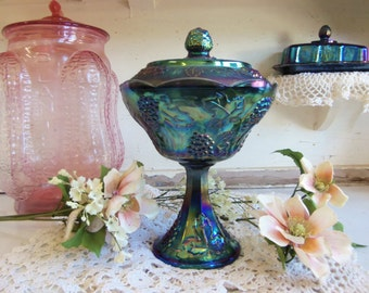 Vintage Harvest Grape Carnival Glass Compote Covered Candy Dish with Lid  B647