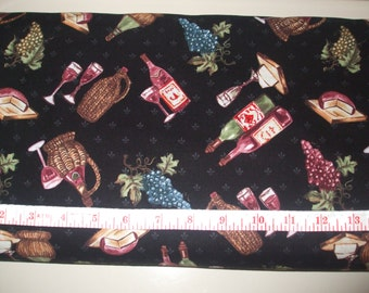 Wine & grapes cotton quilting fabric