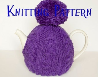 Instant Download PDF Knitting Pattern - Cabled Tea Cozy, DIY Knit Tea Cosy, Knitting Instructions