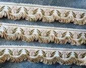 Custom Listing for S E .... Vintage PASSEMENTERIE TRIM, French rayon trim, 3m of gold and 5m of gray, with looped fringe.
