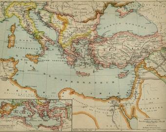 1895 Antique map of BYZANTINE EMPIRE around 1000. BYZANTIUM. Eastern Roman Empire. 121 years old map.