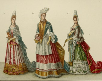 1889 Antique print of BAROQUE CLOTHING (17th-18th Century). Ancient costumes. Fashion. 127 years old gorgeous lithograph.