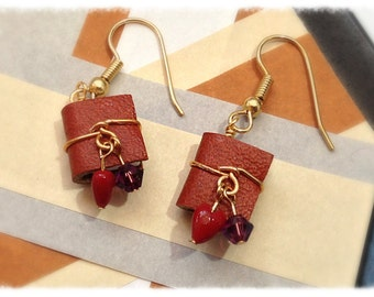 Mini Book Earring February Birthstone, Amethyst Swarovski Crystal with Surgical Steel Earwires - GE43