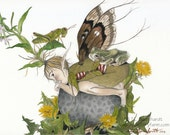 Petoskey Stone Fairy V - fairy/faerie art print (reproduction) by T.L. Baumhardt.  Matted Size 8 x 10 inches.