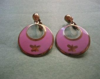 Pretty Pink Vintage Enamel Clip On Earrings
