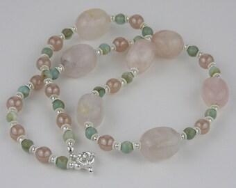 Pink quartz and amazonite necklace