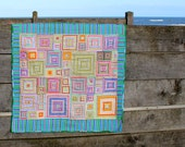 Bright Geometric Patchwork lap quilt or Throw