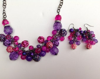 Pink Necklace-Purple Necklace-Chunky Necklace-Statement Necklace-Prom-Bib-One of a Kind Original-Designs by Stalinda