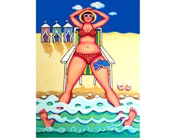 Funny Woman Beach Huts Seashore Coastal 9x12 Glicee Print from original colorful ocean beach cabanas painting Korpita ebsq