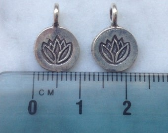 HT 74 Thai Hill Tribe Fine  Silver Lotus Charm - 2 Pieces