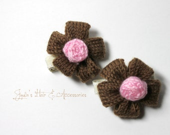 Children/girls/baby hair clip - large yarn flowers