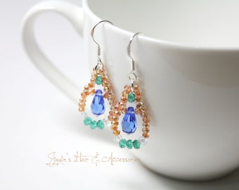 Wedding, bridesmaid gift, formal, casual Swarovski sterling silver earrings - Sapphire