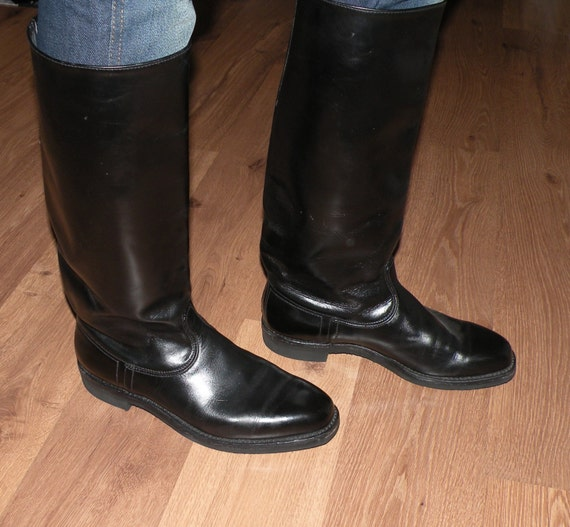 Vintage Men's Black Leather Riding Boots Size 43 by JustGiza
