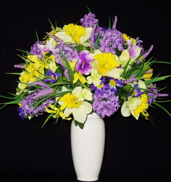 Silk Flower Arrangement Lavender Hyacinth \u0026 Yellow Daffodils