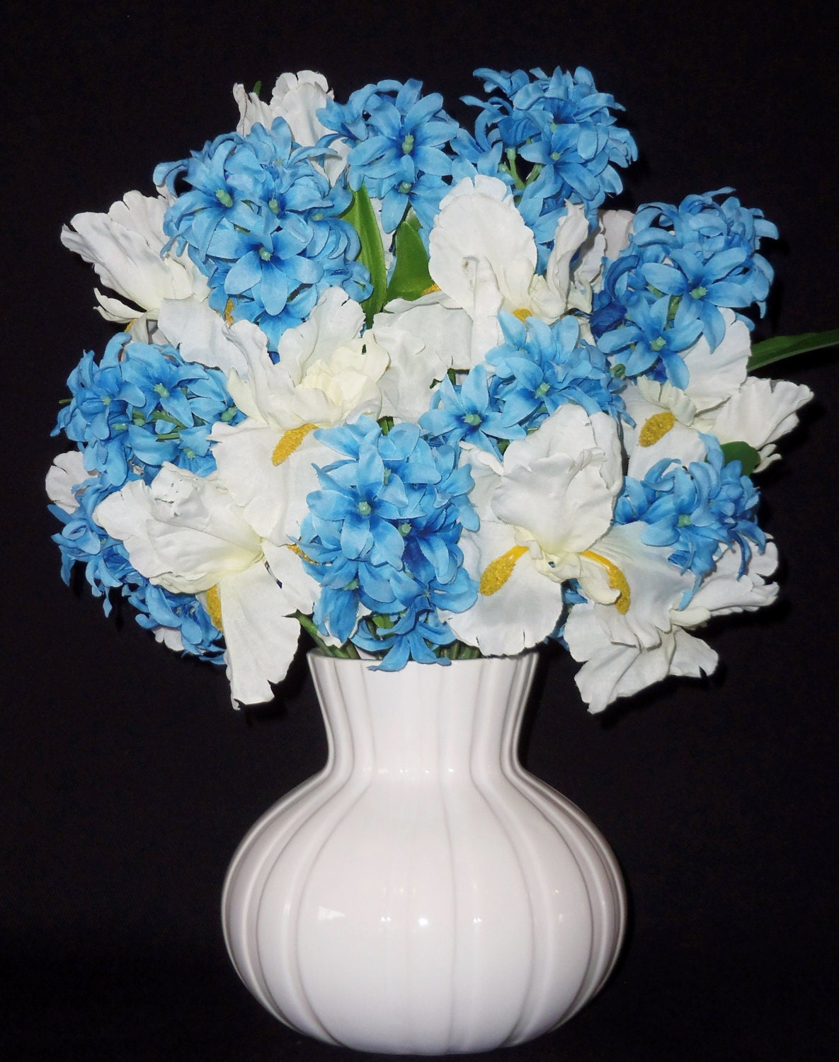 Silk Flower Arrangement Blue Hyacinth White Iris White