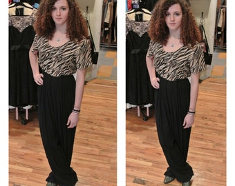 1980s Animal Print Jumper High Waisted Tuxedo Onsie Pant Suit Wide Leg Pleated Jump Suit Romper