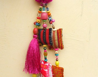 Hot Pink Artisan BOHO Bag Charm Jazzy Colorful Pom Tassel Keychain, Tribal Fabric Shapes Funky Beadwork Long Silky Tassel Wool Pink Pom Pom