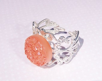 Silver Druzy Ring, Drusy Ring, Pastel Druzy Ring, Orange Ring, Light Coral, Filigree Druzy Ring, Bright Druzy Ring, Drusy ring