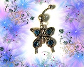 SALE-Belly Ring, Tibetan Silver Butterfly with Blue Crystal Rhinestones, Belly Button Navel Ring, Belly Jewelry For Women and Teens