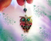 Belly Ring, Antique Bronze Multi Color Rhinestone Fat Owl With Jade Green Crystal Eyes, Belly Button Navel Ring, Belly Button Jewelry