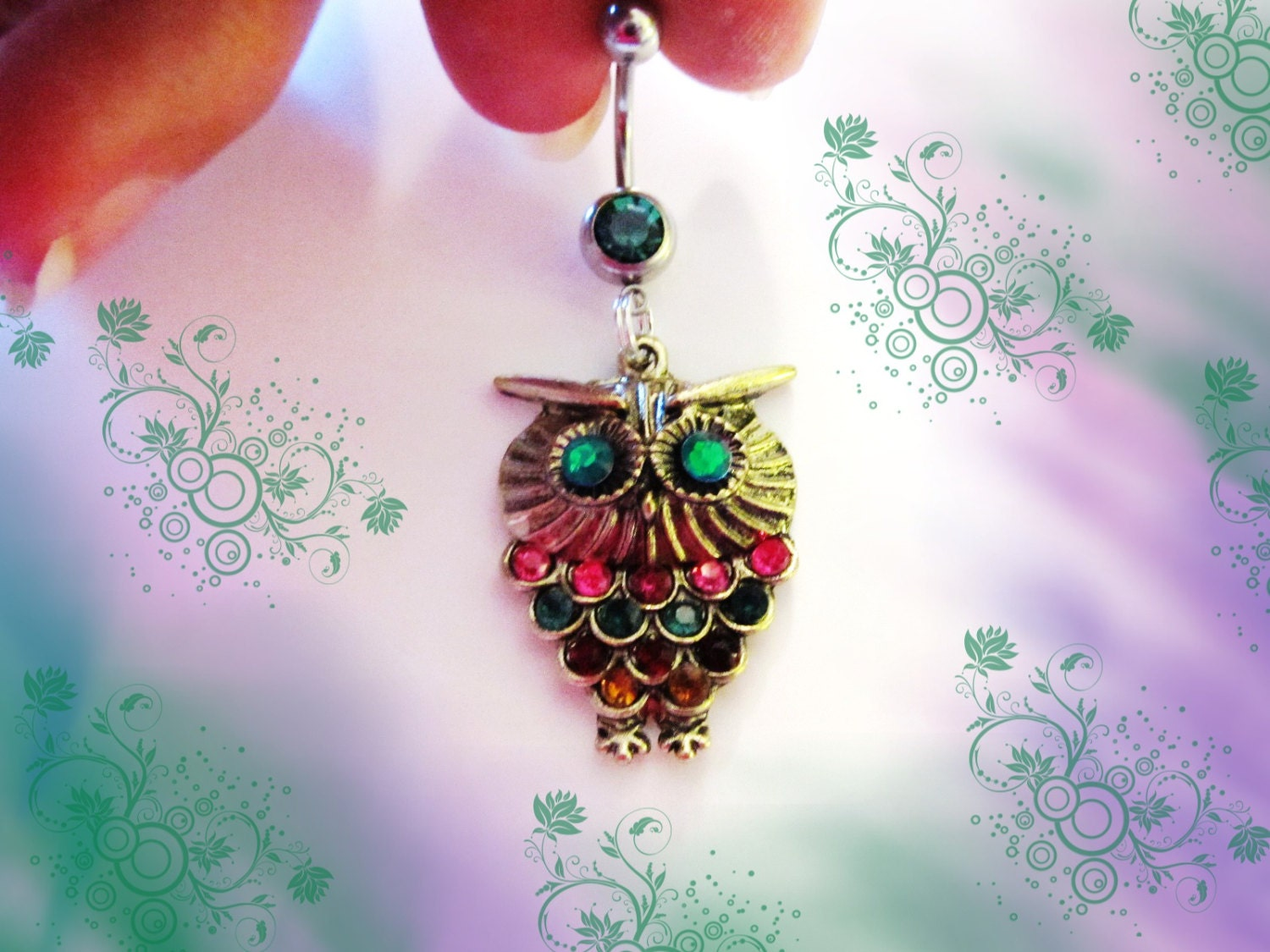belly ring antique bronze multi color rhinestone by
