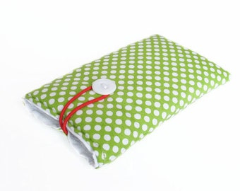 sleeve green mobile phone etui bag case cover dots handmade padded fabric cotton 3G, 4, 4S, 5