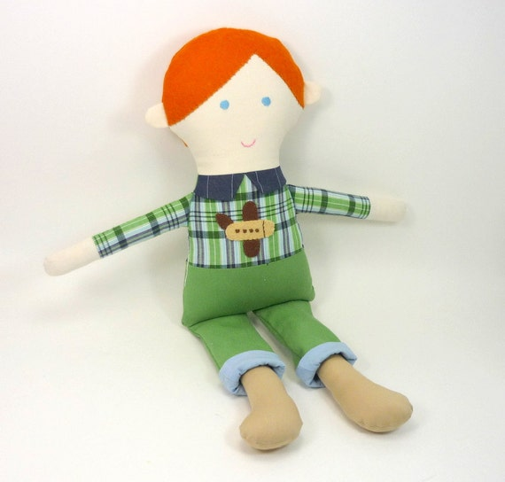 boy rag doll , waldorf boy doll , red  hair , green pants , checkered shirt , eco toy , airplane applique , Sebastian for kids