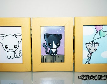 Happy Kitty Cats -  Kawaii Kitties - Three Piece Frame Art Prints - silly cute kawaii - ReLove Plan.et