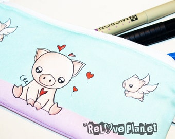 Piggy Pig Zipper Purse Pouch - Medium - Cosmetic Pencil Wallet - ReLove Plan.et
