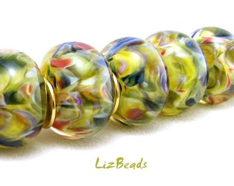 SRA Handcrafted Borosilicate Artisan Lampwork Bead Set - TENDER GREENS