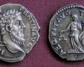 Rome Pertinax Denarius 193 AD tin replica coin
