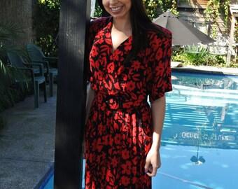 Vintage 1980's Red/Black Floral Dress by JT Dress