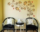 wall decal flower tree with humming bird Office wall decal Childrey wall sticker Kid - Z195 Cuma