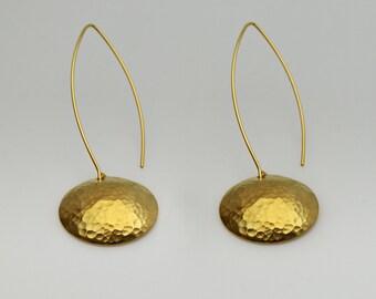 Hammered Caps earring,  gold Earrings , Hammered Caps dangle earrings