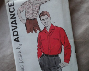Vintage Printed Pattern by Advance No. 9417 Men's Shirt Chest 44 Neck 16 1/2 Unused