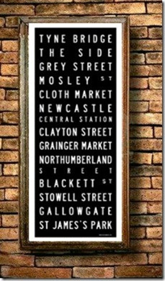Newcastle tram / bus scroll vintage style poster print