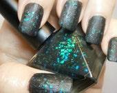 Smutty Mermaid Nail Polish - Matte Black, Green & Blue Grunge Glam - Mud Wrestling - Full Size 15 ml Bottle