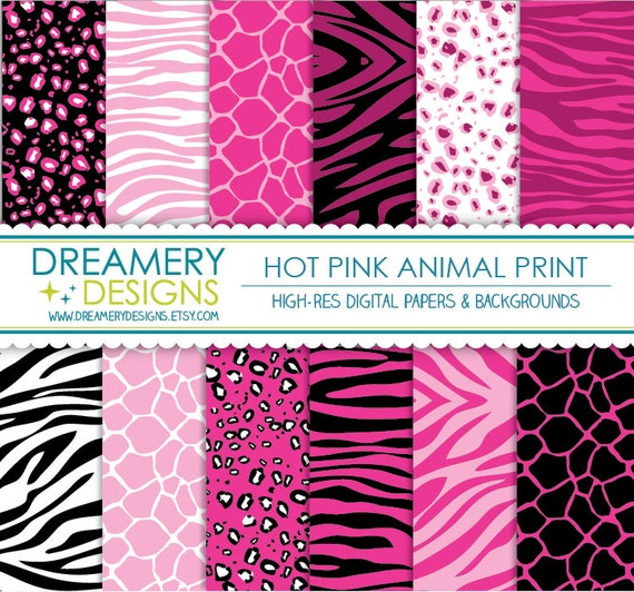 Hot Pink Animal Print Digital Papers By Thedreamerydesigns