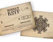 Wedding RSVP Card - Printable PDF // Steampunk, Vintage, Grunge, Western