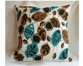 Handmade Decorative Pillow / Throw Pillow / modern design  18x18inches / blue/turquoise, brown/black, white / pattern design