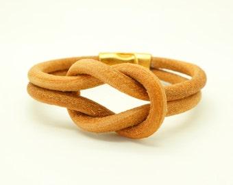 Leather Bracelet - Knot Bracelet - Cuff Bracelet - Nautical Bracelet - Gold Magnetic Bracelet - Statement Bracelet