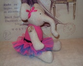 Elephant ballerina with pink and turquoise tutu. Can be personalised