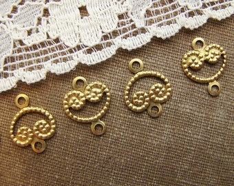 Small Lacey Raw Brass Filigree Heart Shaped Connectors Charms - 10