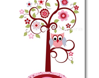 Art for Children Kids Wall Art Baby Girl Room Decor Baby Nursery Decor Kids Art Baby Girl Nursery Prints Tree Owl Decoration Kids Room
