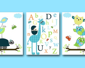 Childrens Art Kids Wall Art Baby Boy Nursery Art Baby Room Decor Nursery Prints set of 3 Owl Decor Nursery Alphabet Giraffe Blue Green /