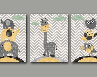 Girl Baby Boy Nursery Art Print Childrens Wall Art Baby Room Decor Kid Print Nursery Decor Boy set of 3 Owls Giraffe Elephants Yellow Grey /