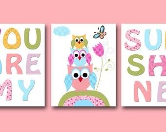 You Are My Sunshine Baby Girl Nursery Art Print Children Wall Art Baby Room Decor Kids Print set of 3 Owls Rose Pink Yellow Baby Art